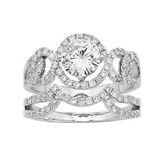 Forever Brilliant 14k White Gold 2 Carat T.W. Lab-Created Moissanite Swirl Engagement Ring Set