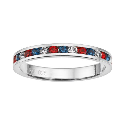 Traditions Red, White and Blue Swarovski Crystal Sterling Silver Eternity Ring