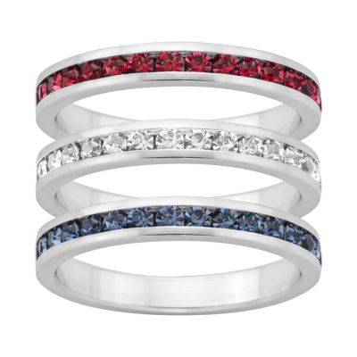 Traditions Red, White and Blue Swarovski Crystal Sterling Silver Eternity Ring Set