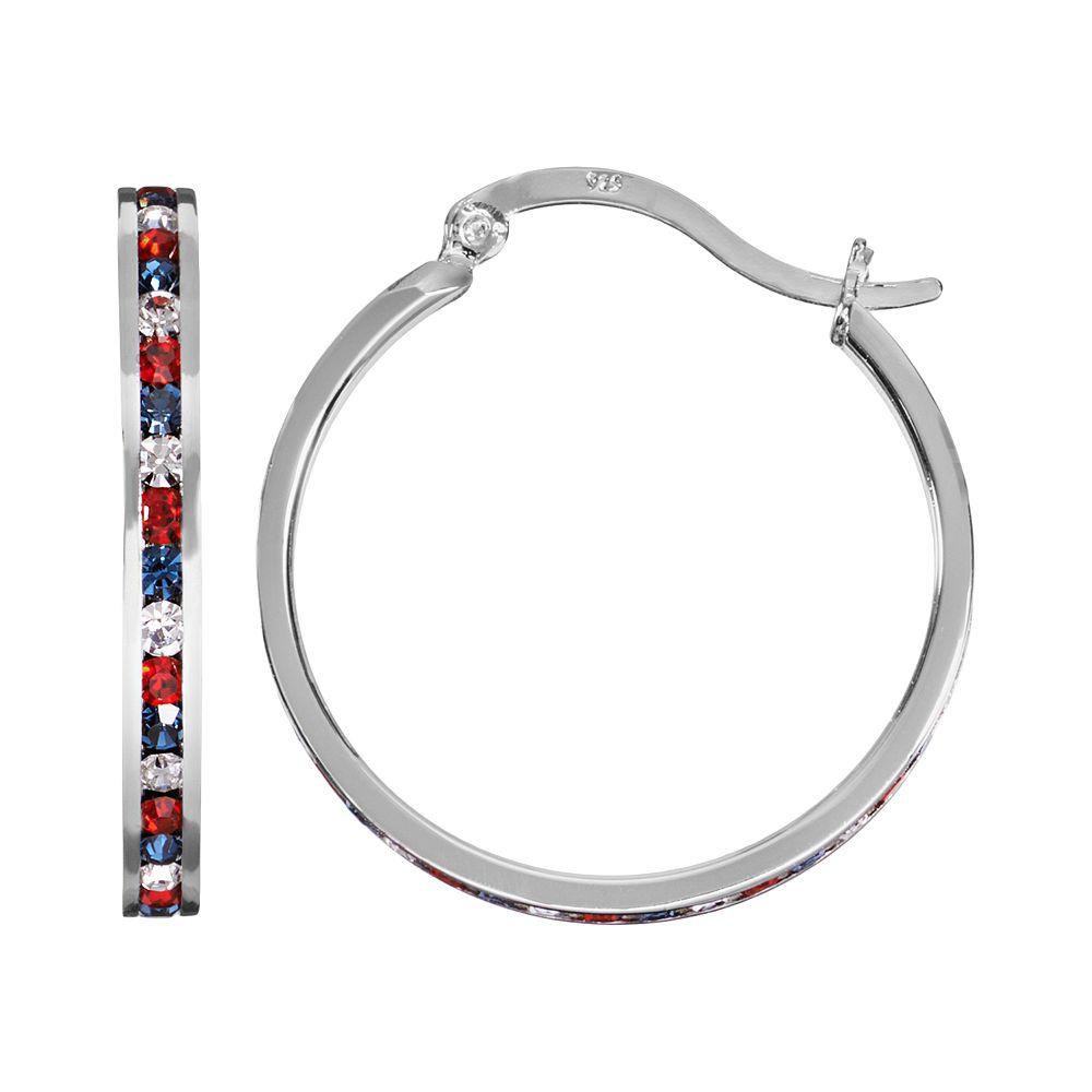 Traditions Red, White & Blue Swarovski Crystal Sterling Silver Hoop Earrings