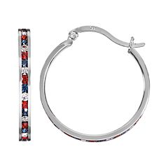 Traditions Red, White & Blue Swarovski Crystal Sterling Silver Hoop Earrings