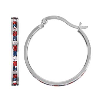 Traditions Red, White and Blue Swarovski Crystal Sterling Silver Hoop Earrings