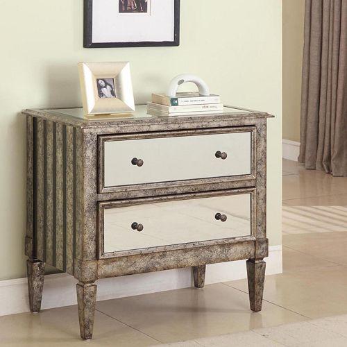 Antique & Crackle 2-Drawer Mirrored Dresser