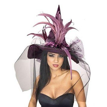 Feather Witch Costume Hat - Adult