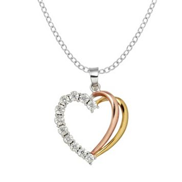 DIAMORE Diamond Accent Sterling Silver & 10k Gold Over Silver Two Tone Double Heart Pendant Necklace