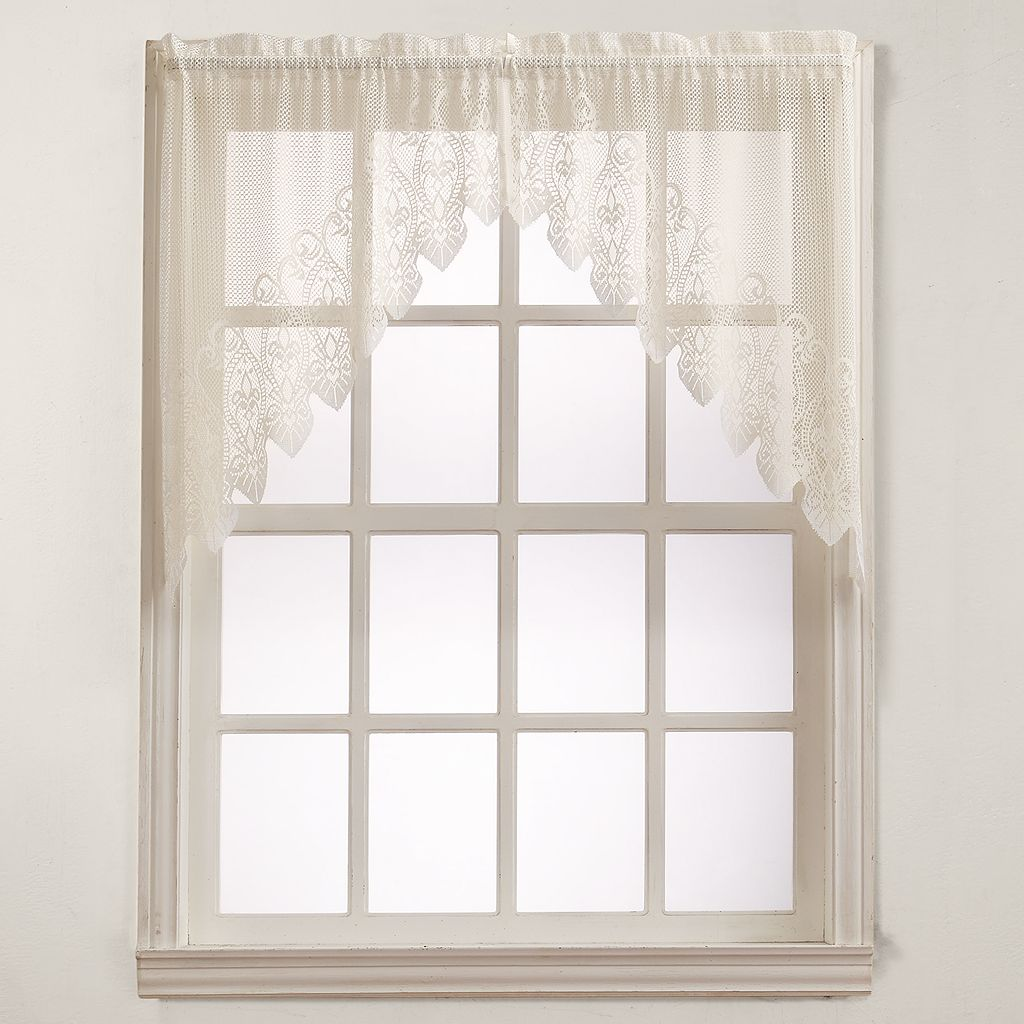 No918 Joy Lace Swag Kitchen Window Curtain - 60'' x 38''