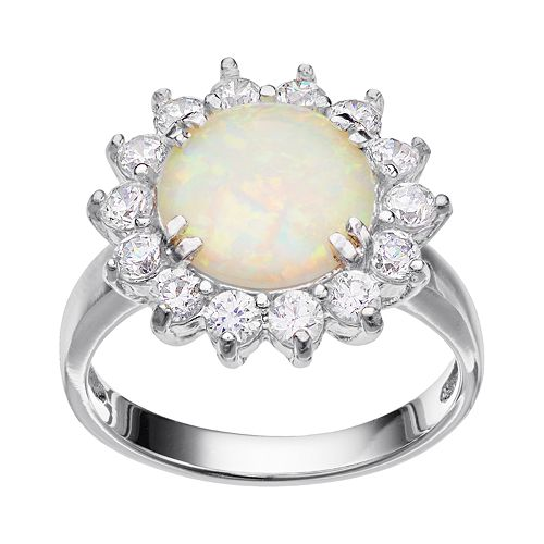 Sophie Miller Lab-Created Opal & Cubic Zirconia Sterling Silver Halo Ring