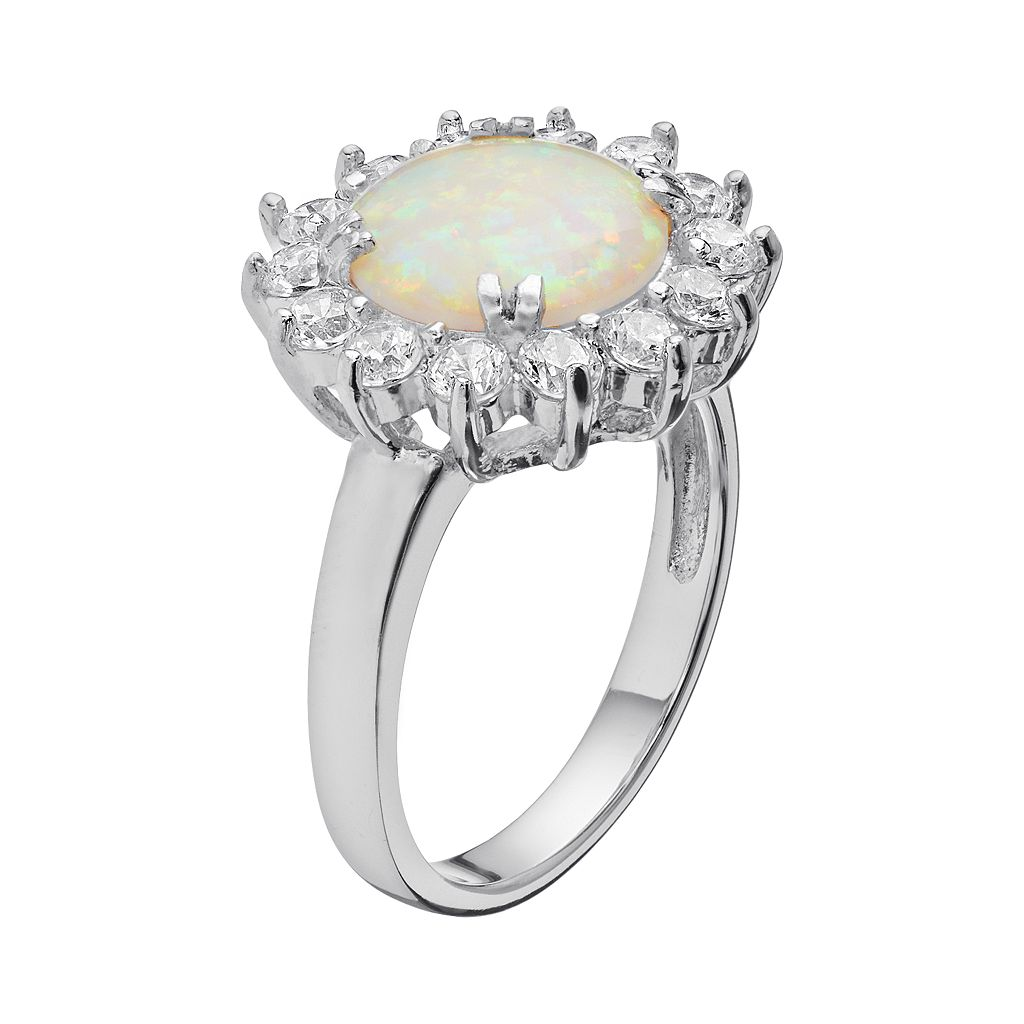 Sophie Miller Lab-Created Opal and Cubic Zirconia Sterling Silver Halo Ring