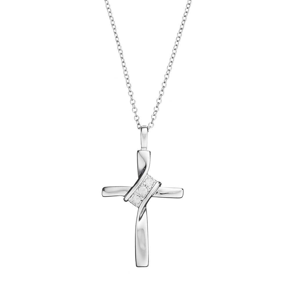 Sterling Silver 1/10 Carat T.W. Diamond Cross Pendant Necklace