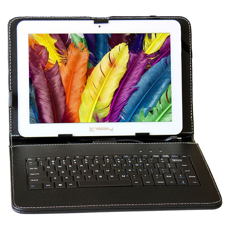 LINSAY 10.1-in. Quad Core 1280x800HD Dual Camera 16GB Tablet with Keyboard Case