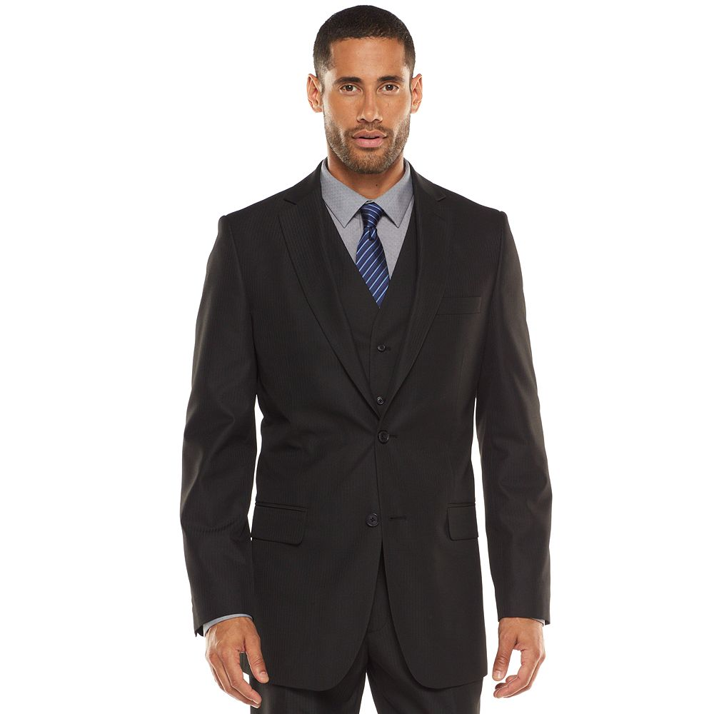 Apt. 9® Modern-Fit Striped Dark Gray Suit Jacket & Vest