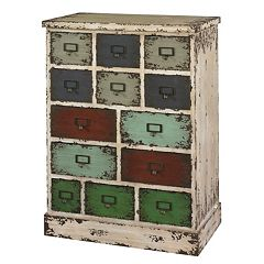 Parcel 13-Drawer Distressed Floor Cabinet