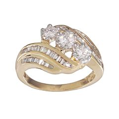Round-Cut Diamond Swirl Engagement Ring in 10k Gold (1 ctT.W.)