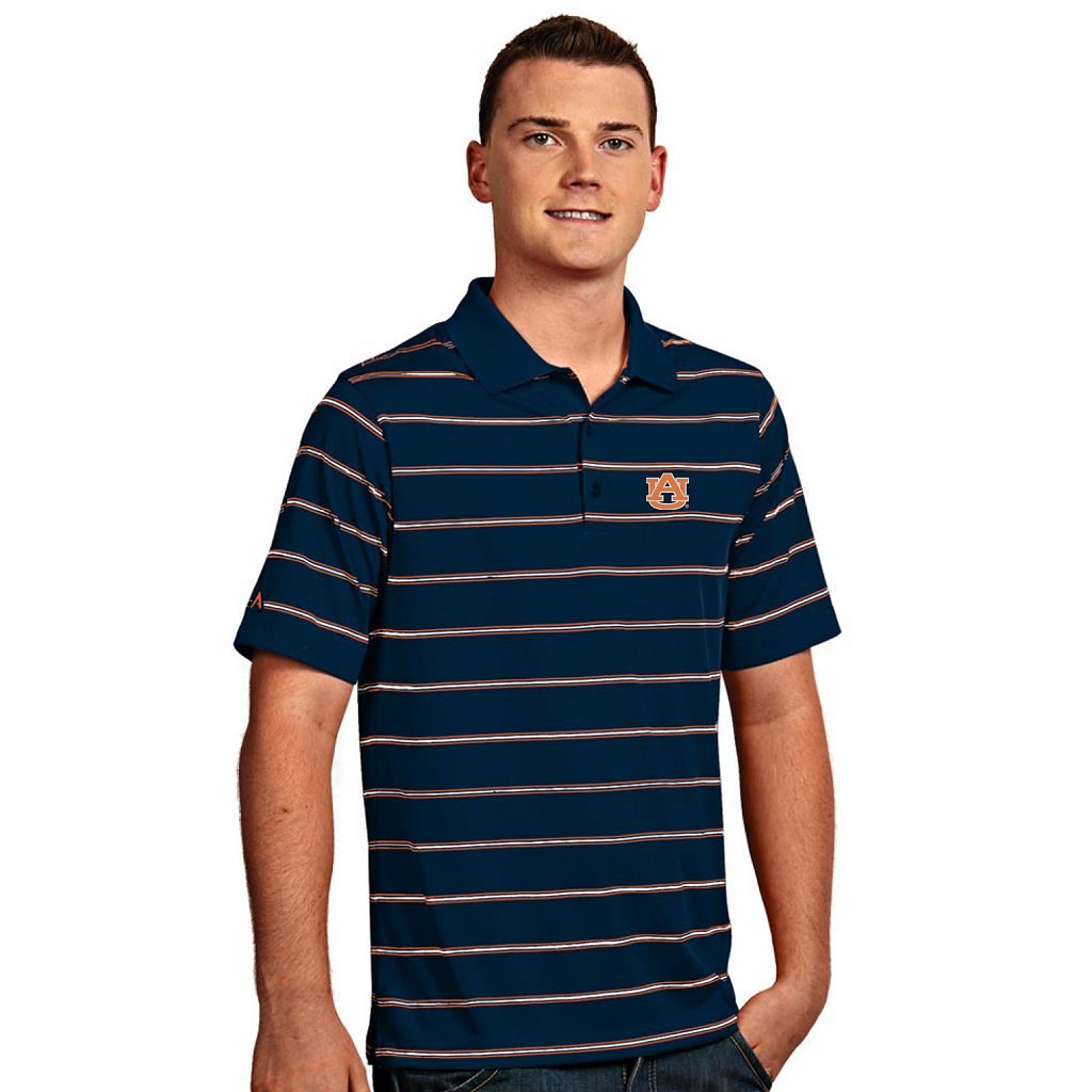 Men's Antigua Auburn Tigers Deluxe Striped Desert Dry Xtra-Lite Performance Polo