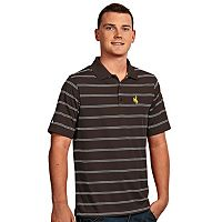 Men's Antigua Wyoming Cowboys Deluxe Striped Desert Dry Xtra-Lite Performance Polo