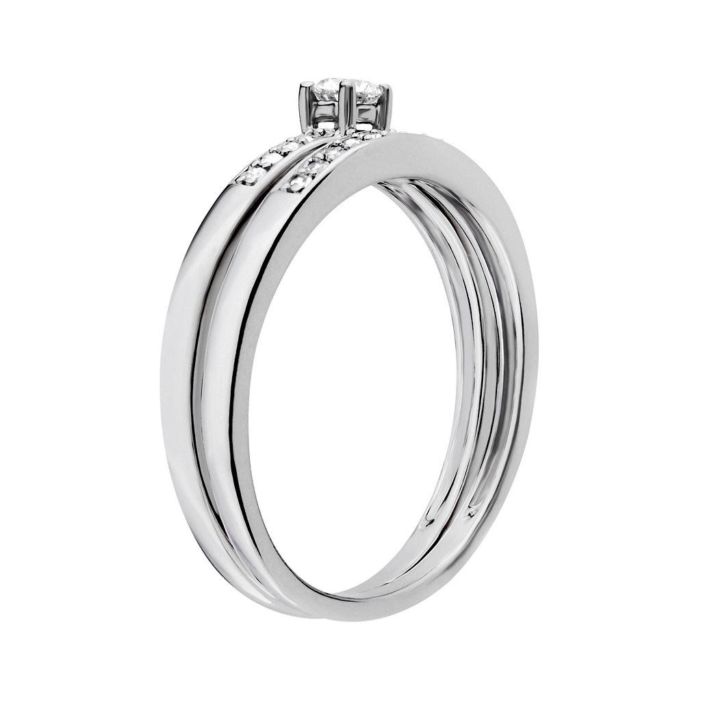Diamond Engagement Ring Set in 10k White Gold (1/5 Carat T.W.)