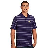 Men's Antigua Washington Huskies Deluxe Striped Desert Dry Xtra-Lite Performance Polo