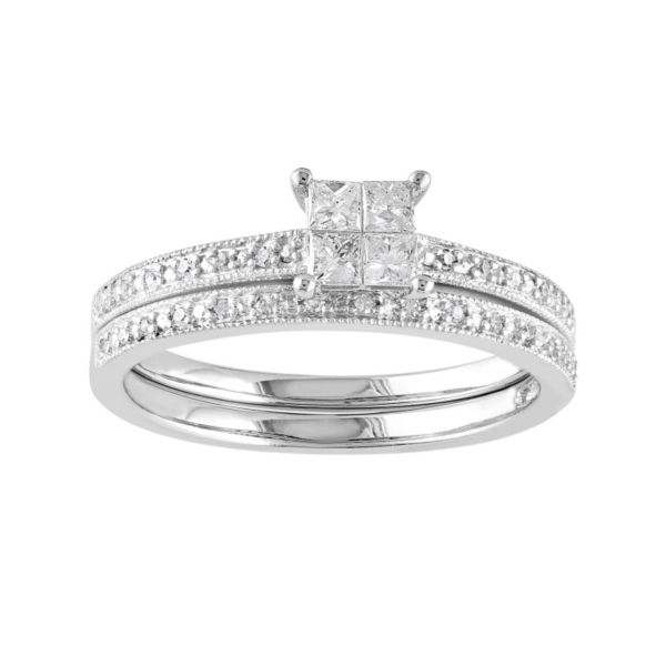 kohls wedding rings engagement ring set in 10k white gold 1 3 carat t w 5339