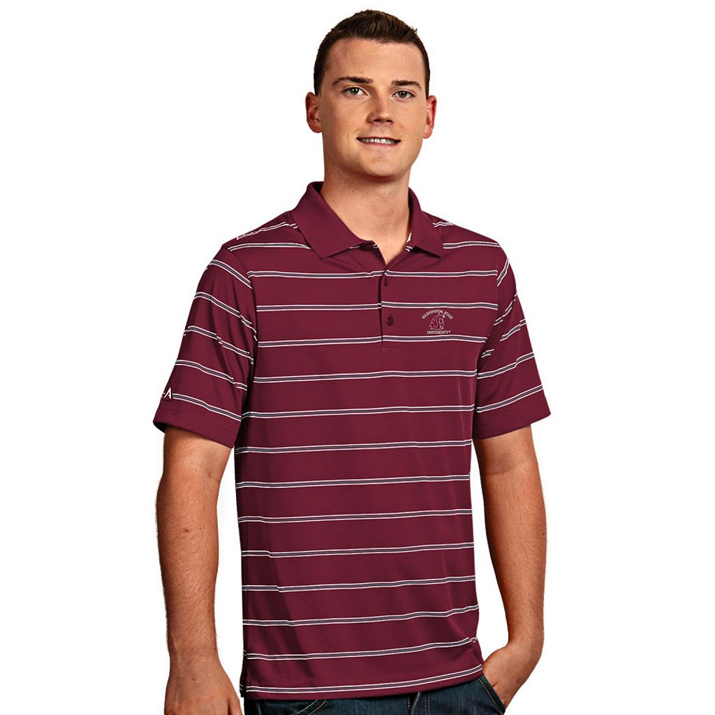 Men's Antigua Washington State Cougars Deluxe Striped Desert Dry Xtra-Lite Performance Polo