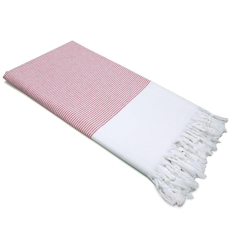 Linum Home Textiles Stripy Beach Towel, Red