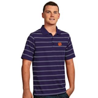Men's Antigua Clemson Tigers Deluxe Striped Desert Dry Xtra-Lite Performance Polo