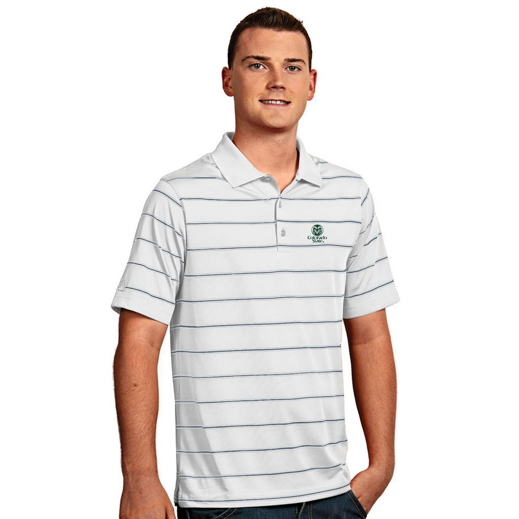 Men's Antigua Colorado State Rams Deluxe Striped Desert Dry Xtra-Lite Performance Polo