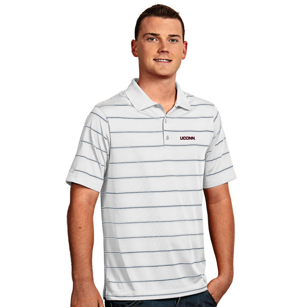 Men's Antigua UConn Huskies Deluxe Striped Desert Dry Xtra-Lite Performance Polo