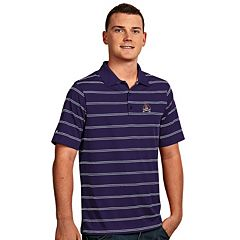 Men's Antigua East Carolina Pirates Deluxe Striped Desert Dry Xtra-Lite Performance Polo