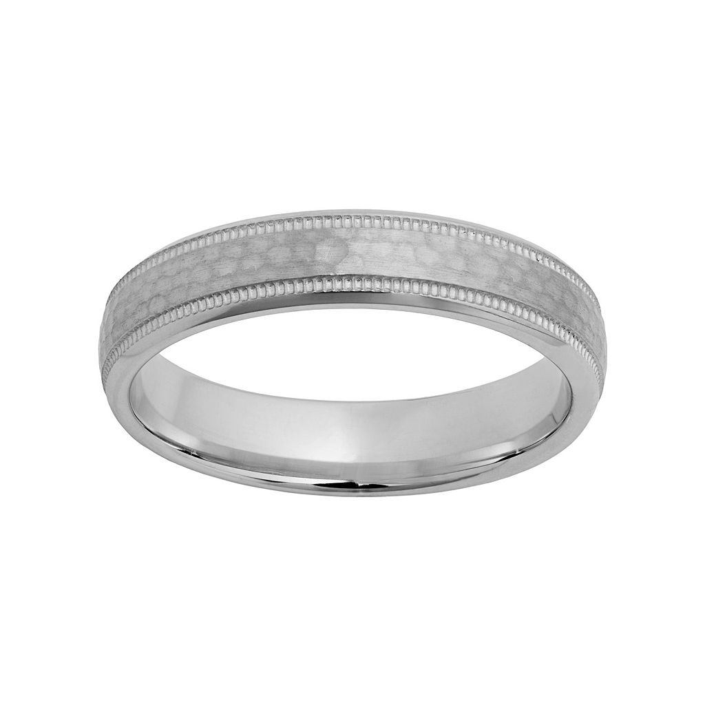 Sterling Silver Hammered Wedding Ring
