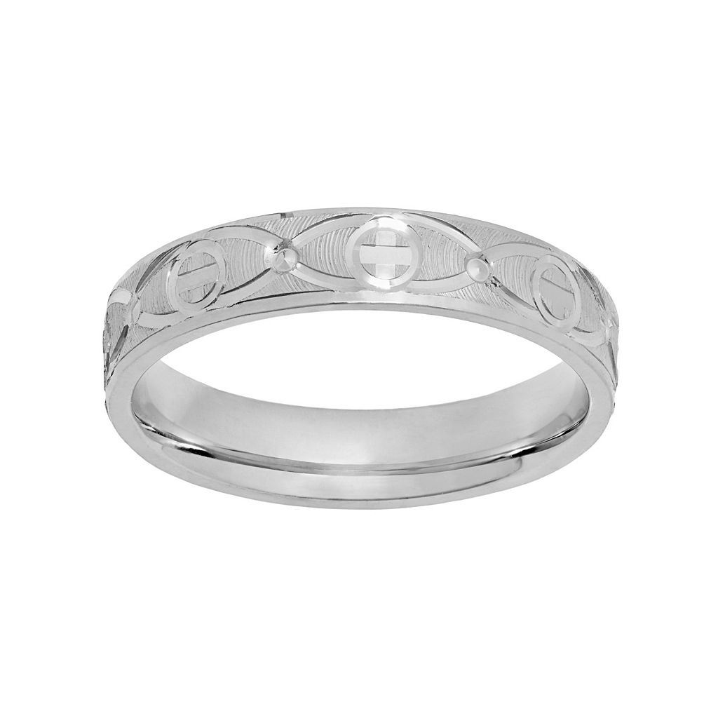 Sterling Silver Textured Cross Wedding Ring