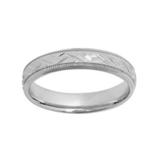 Sterling Silver Basket Weave Wedding Ring