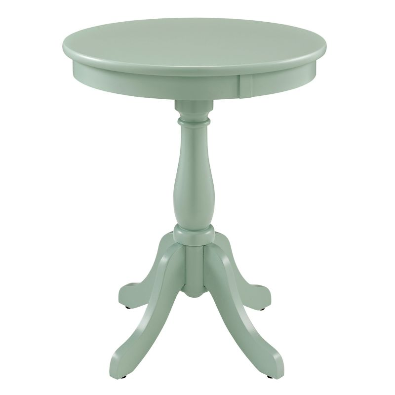 Round Pedestal End Table, Turquoise\/Blue (Turq\/Aqua)