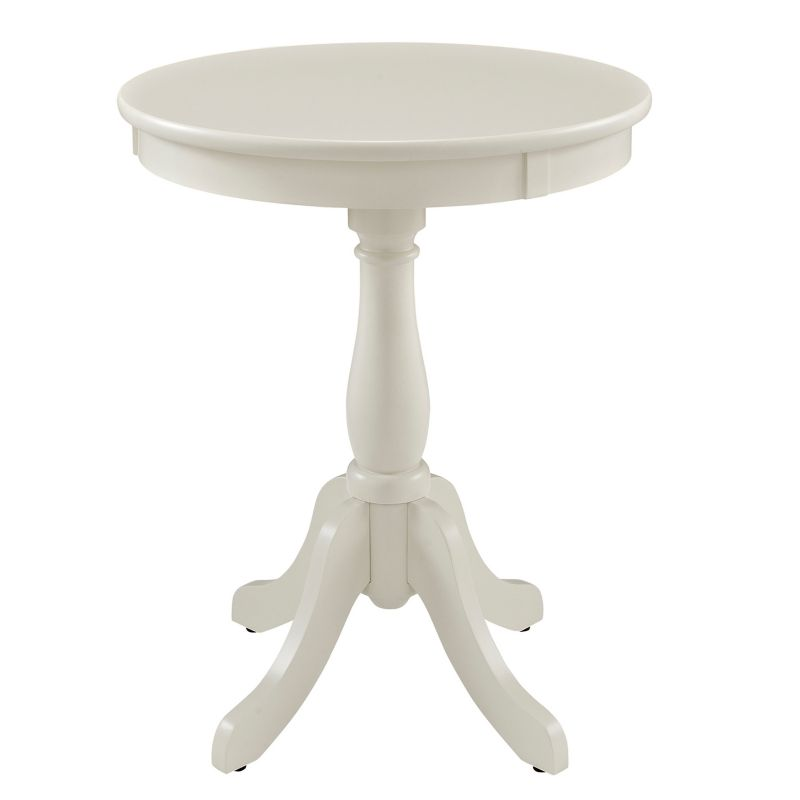 Round Pedestal End Table, White