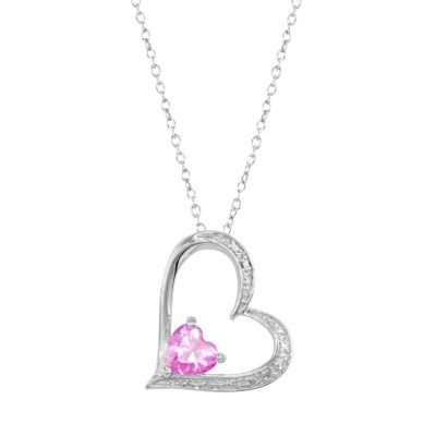 RADIANT GEM Lab-Created Pink Sapphire Sterling Silver Heart Pendant Necklace