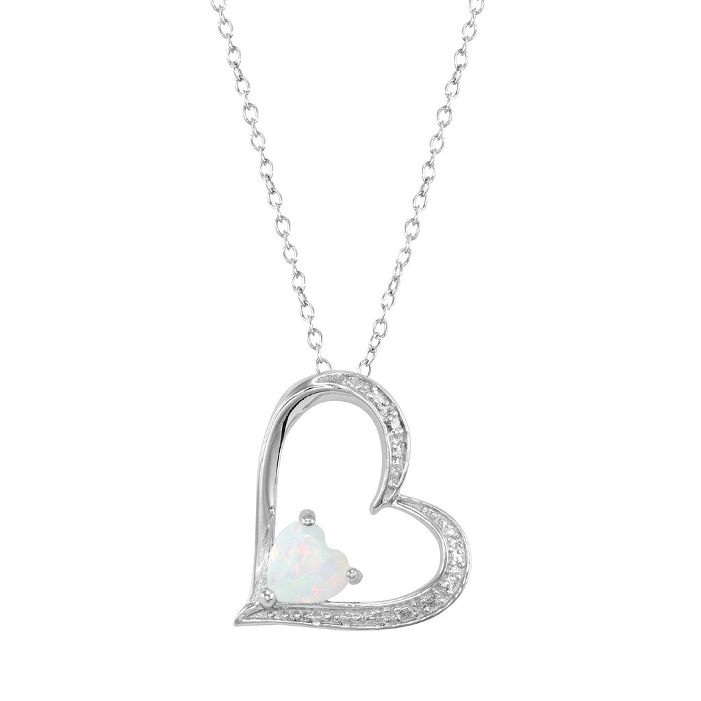 RADIANT GEM Lab-Created Opal Sterling Silver Heart Pendant Necklace