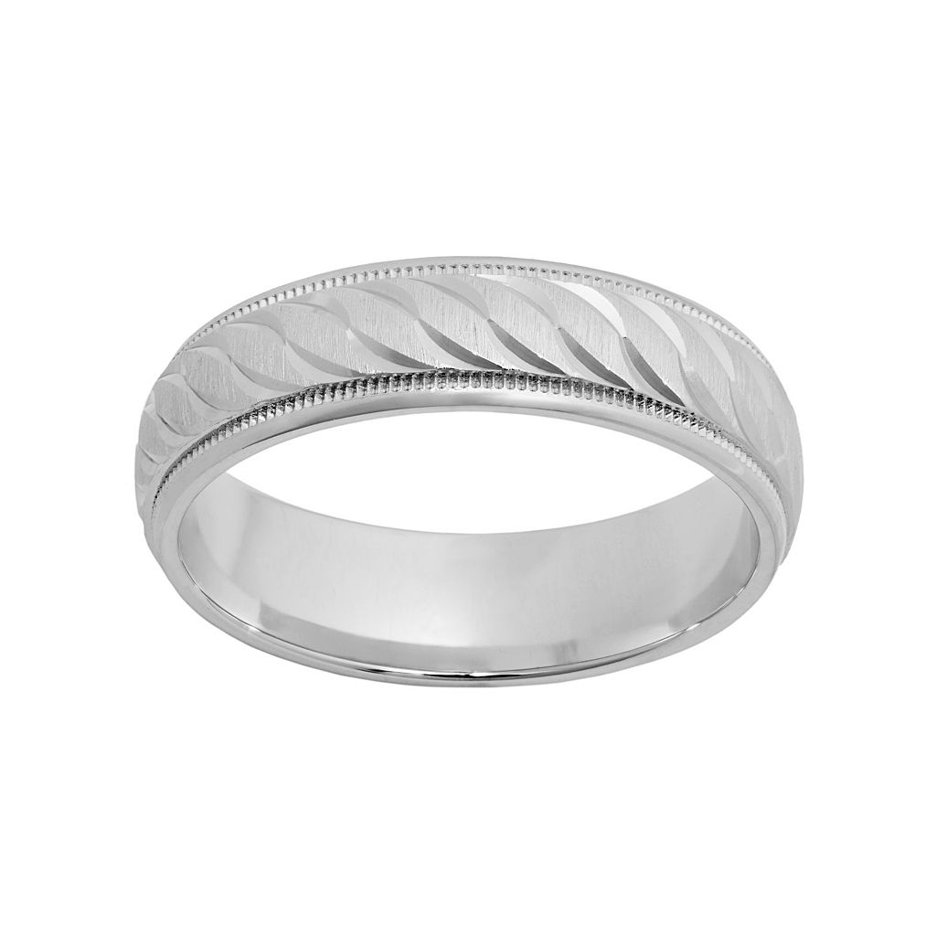 Sterling Silver Textured Wedding Band - Men