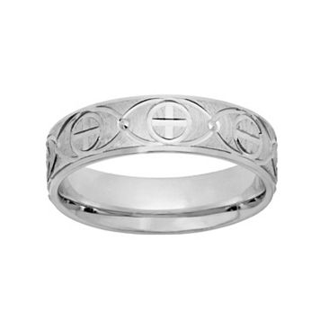 Sterling Silver Textured Cross Wedding Band - Men