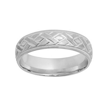 Sterling Silver Basket Weave Wedding Band - Men