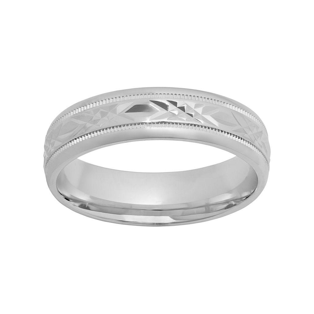 Sterling Silver Crisscross Wedding Band - Men