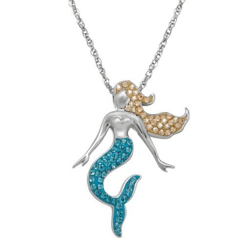 Artistique Crystal Sterling Silver Mermaid Pendant Necklace - Made with Swarovski Crystals