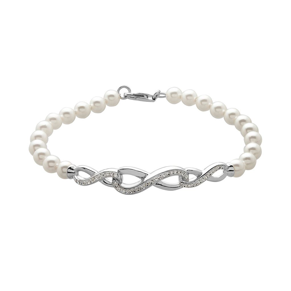 Artistique Simulated Pearl & Crystal Sterling Silver Infinity Bracelet - Made with Swarovski Crystals