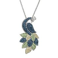 Artistique Crystal Sterling Silver Peacock Pendant Necklace - Made with Swarovski Crystals