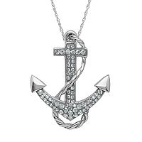Artistique Crystal Sterling Silver Anchor Pendant Necklace