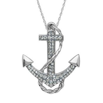 Artistique crystal sterling silver anchor pendant necklace aloadofball