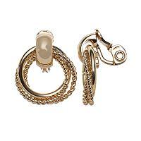 Napier Twist Triple Hoop Drop Clip-On Earrings