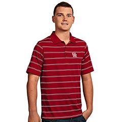 Men's Antigua Houston Cougars Deluxe Striped Desert Dry Xtra-Lite Performance Polo