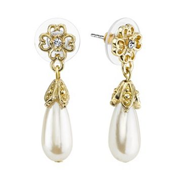 1928 Flower Simulated Pearl Teardrop Earrings