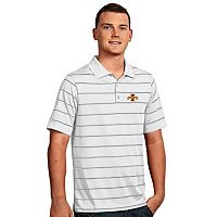 Men's Antigua Iowa State Cyclones Deluxe Striped Desert Dry Xtra-Lite Performance Polo
