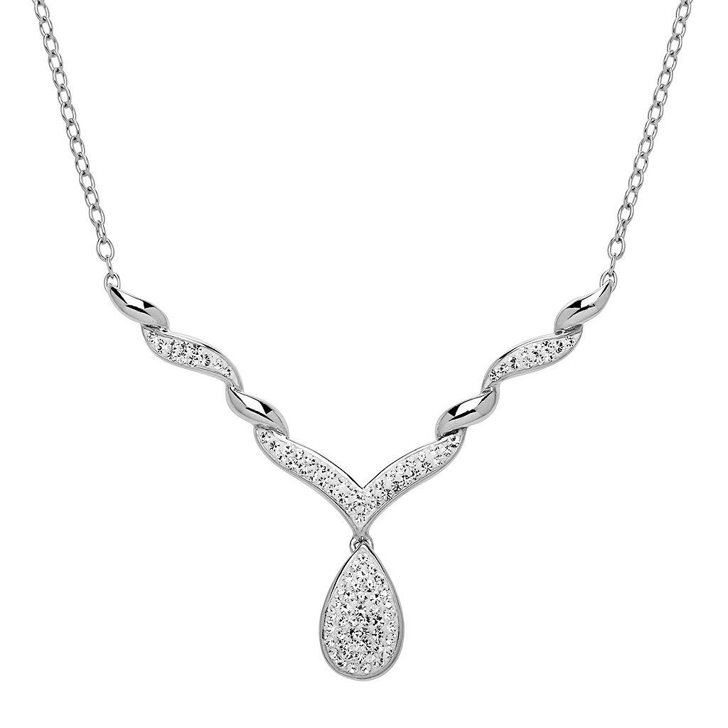 Artistique Crystal Sterling Silver Teardrop Necklace - Made with Swarovski Crystals