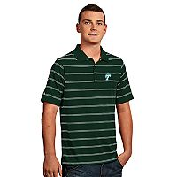 Men's Antigua Tulsa Golden Hurricane Deluxe Striped Desert Dry Xtra-Lite Performance Polo